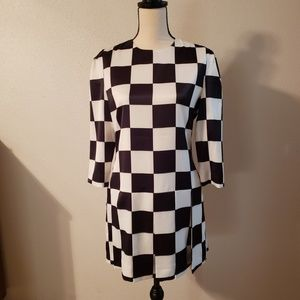 BLACK AND WHITE Checkered Mini Dress - L